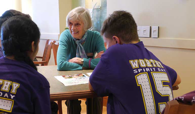 Summerhill PARC resident with St. Edmunds School students