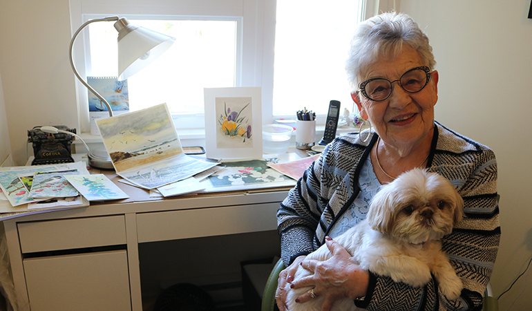 Cedar Springs PARC Resident Cathy and her dog Daisy Mae