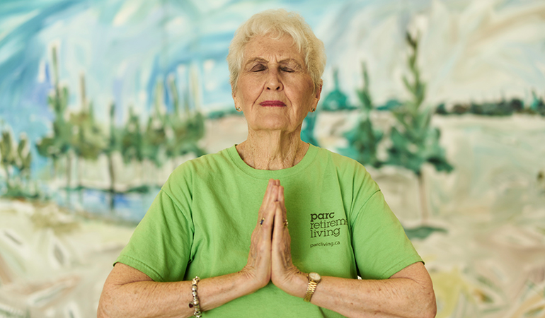Westerleigh PARC resident Bette in meditation