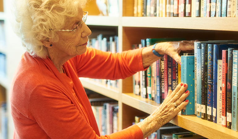 Westerleigh PARC resident Dorothy at the library