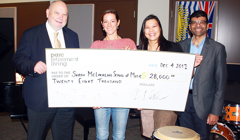 Cheque presentation to the Sarah McLachlan School of Music