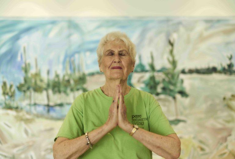 Resident doing meditation