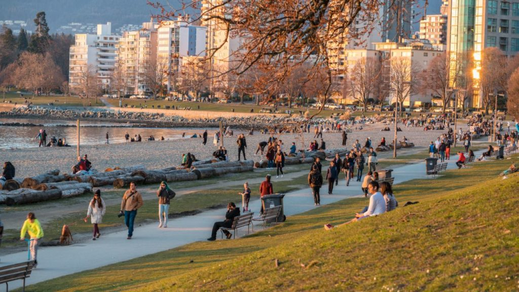 People crowding in English Bay