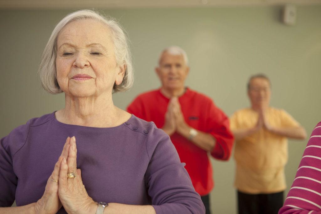 Seniors practicing mindfulness