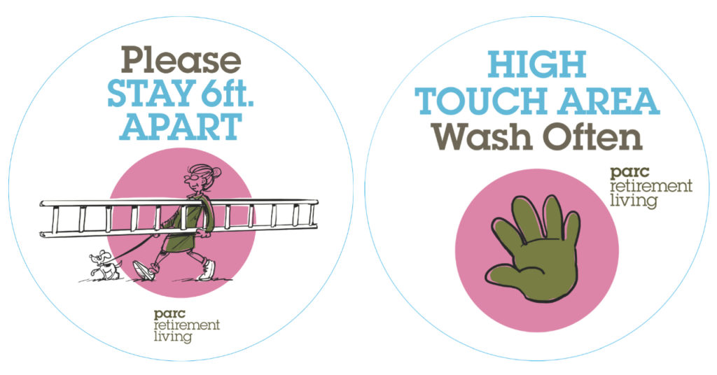 High touch and social distance stickers