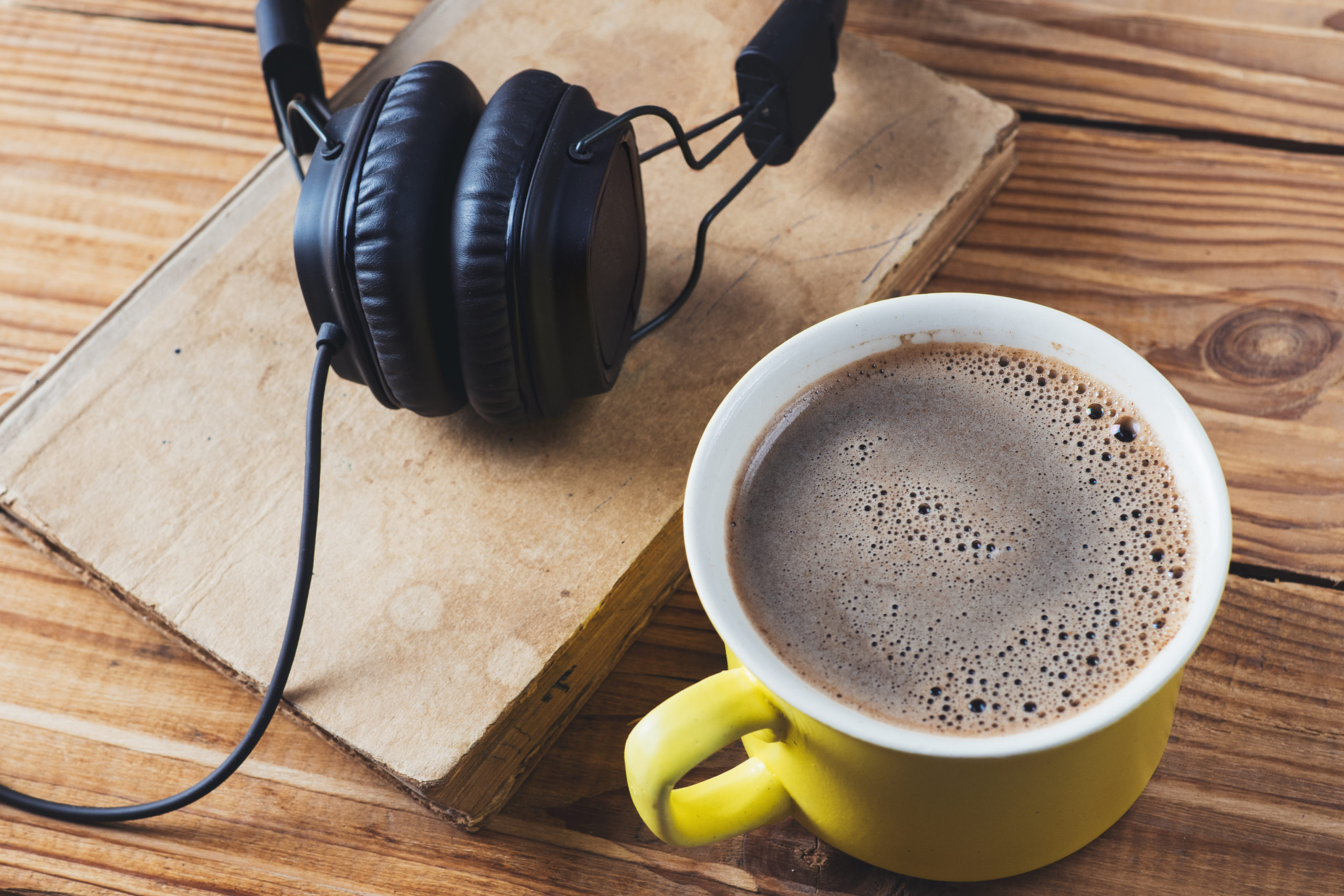 Coffee and headphones