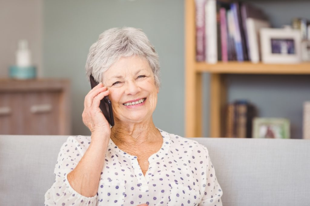 Senior woman smiling on the phone