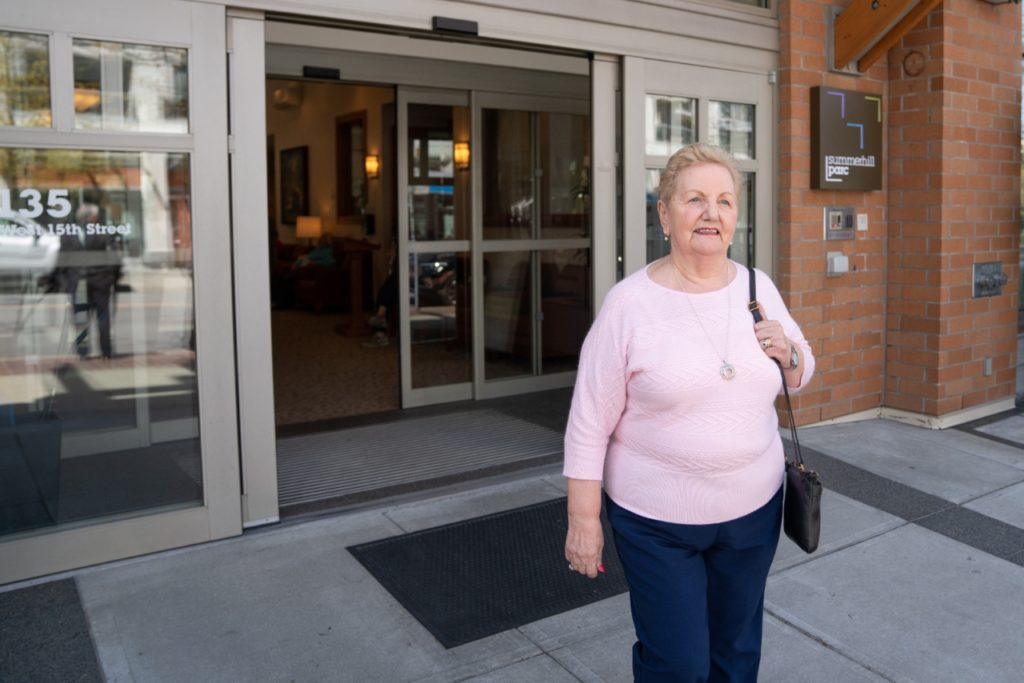 Summerhill PARC resident Marlene leaving entrance
