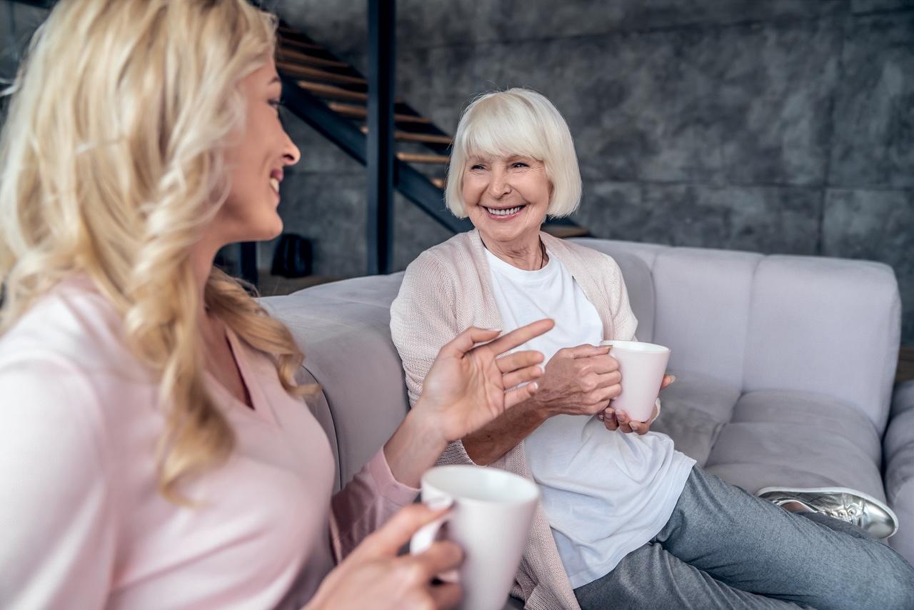 Senior woman talking to her daughter
