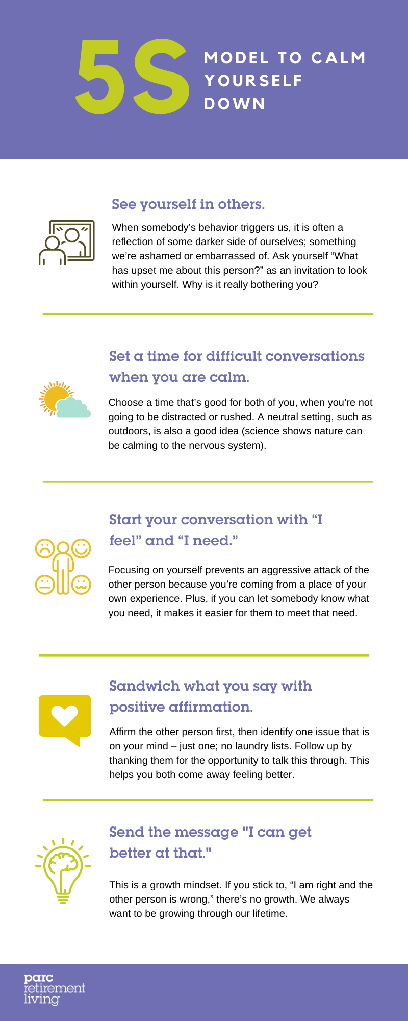 5S infographic tool to calm yourself down