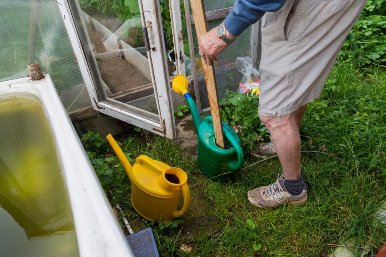 Senior man grabbing gardening tools