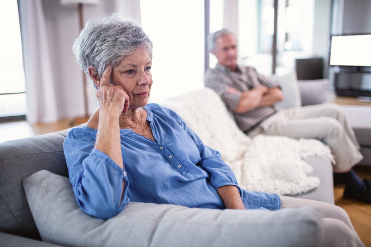 Married senior couple in argument