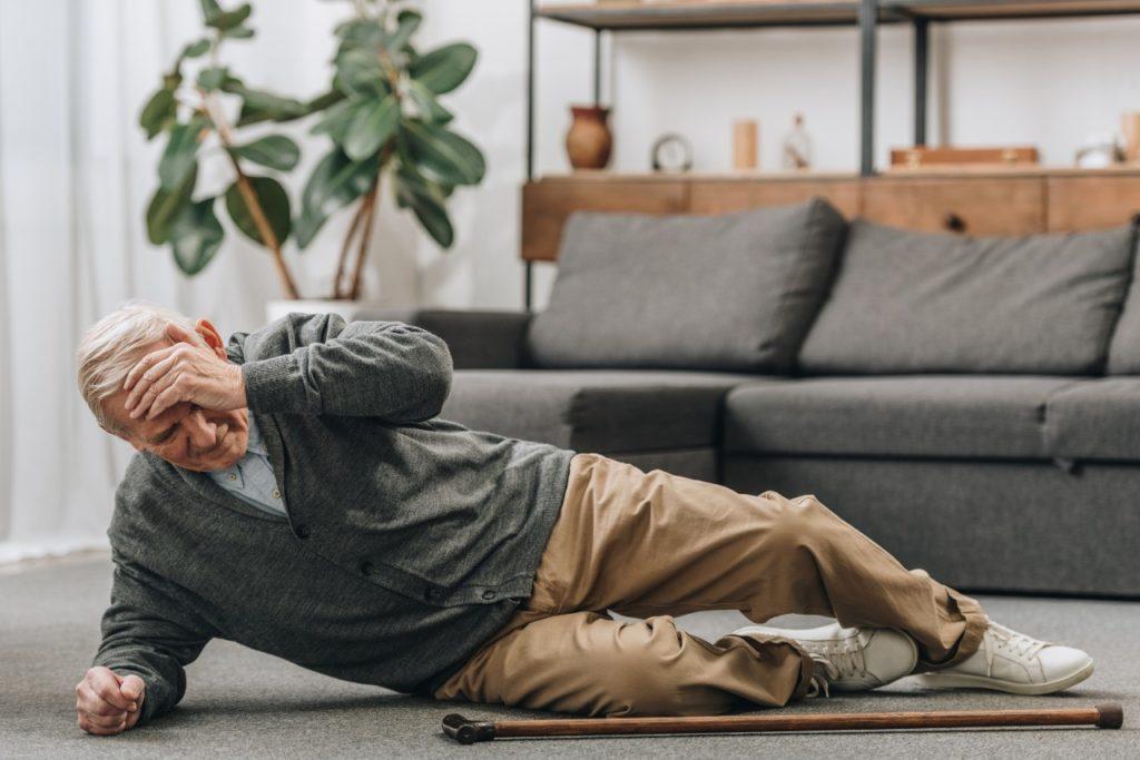Senior man fell on the ground