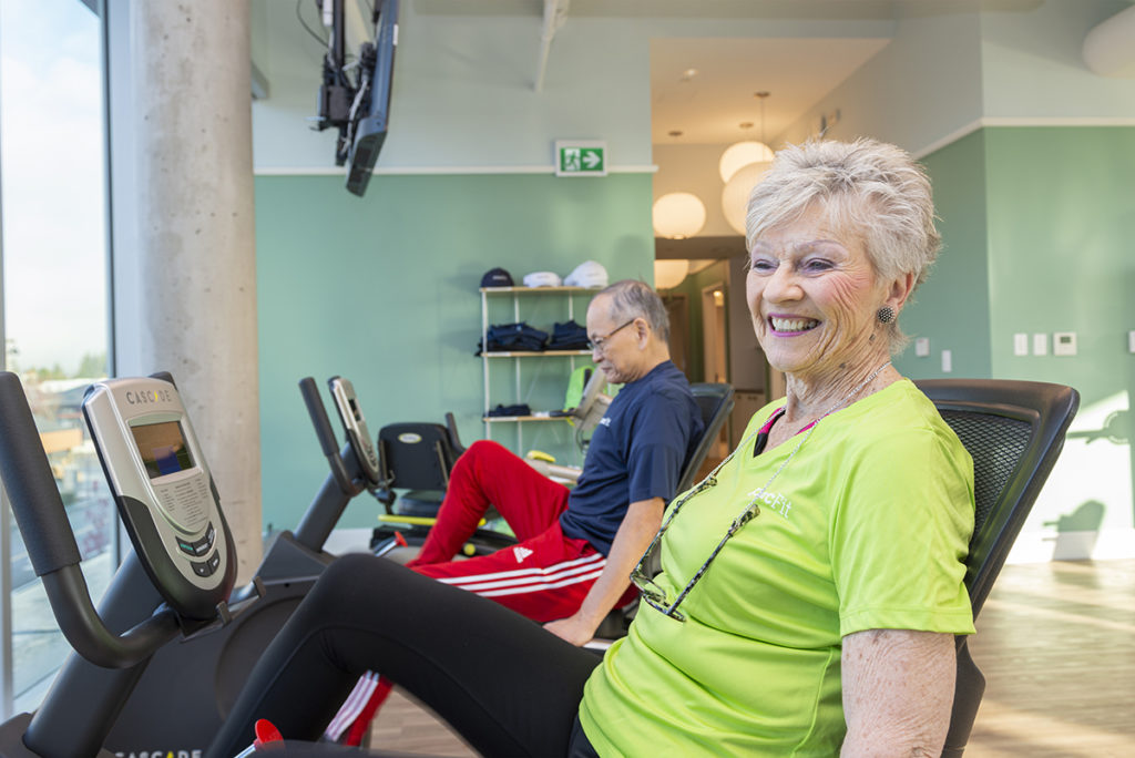 Residents exercising in the PARC Fit & Wellness Centre