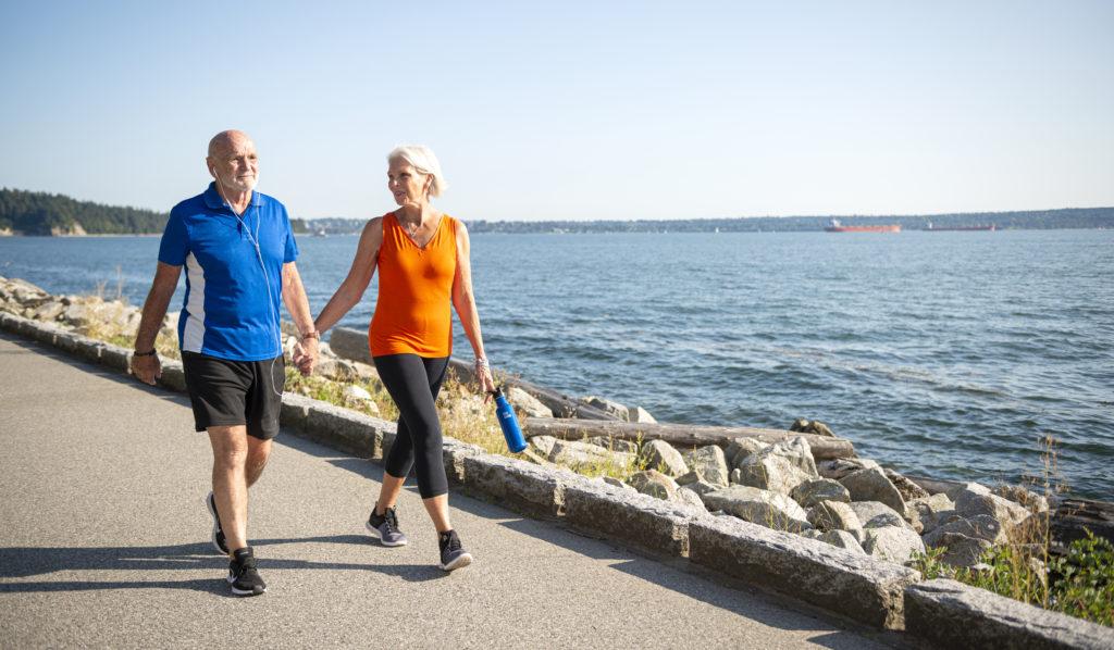 couple walking on west Vancouver seawall