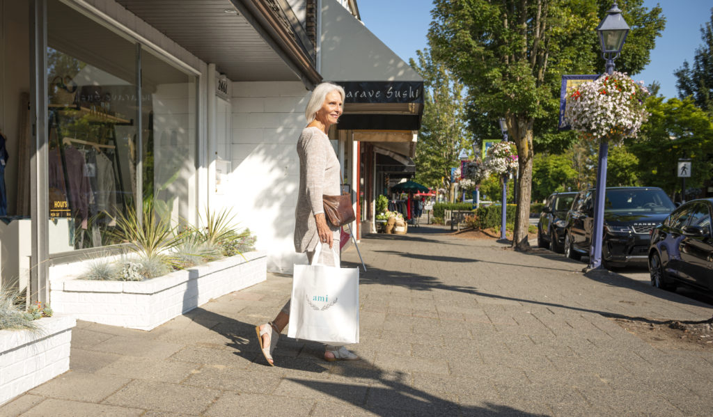 elderly woman shopping in West Vancouver